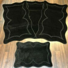 ROMANY WASHABLES NEW GYPSY SETS OF 4PC BLACK MATS NON SLIP TOURER SIZE RUGS